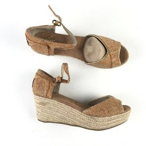 Toms Nude Cork Wedges E9515939